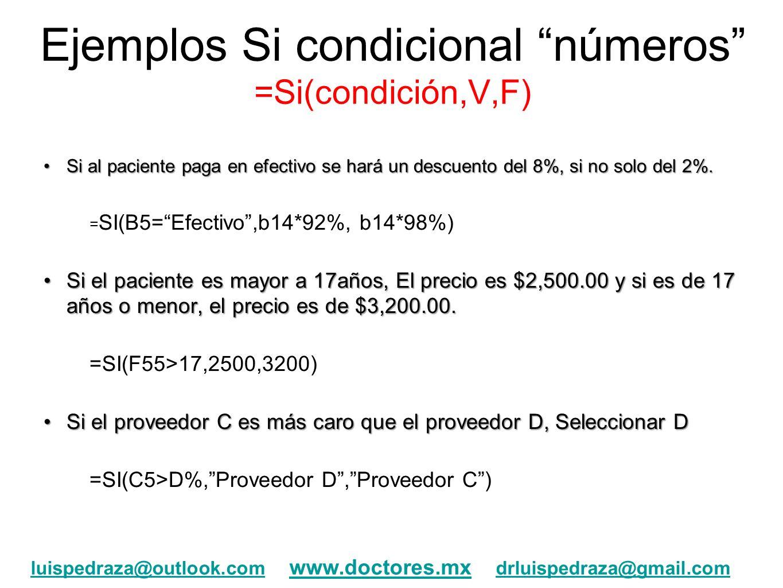 Ejemplos Si condicional números =Si(condición,V,F) Si al paciente paga en efectivo se hará un descuento del 8%, si no solo del 2%.Si al paciente paga