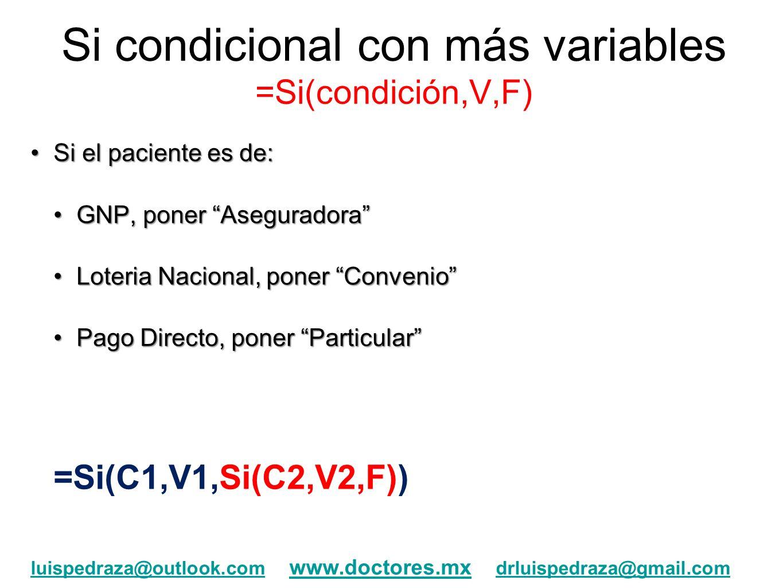 Si condicional con más variables =Si(condición,V,F) Si el paciente es de:Si el paciente es de: GNP, poner AseguradoraGNP, poner Aseguradora Loteria Na