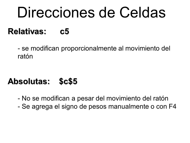 Direcciones de Celdas Relativas: c5 - se modifican proporcionalmente al movimiento del ratón Absolutas: $c$5 - No se modifican a pesar del movimiento