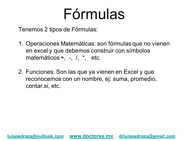 Fórmulas Tenemos 2 tipos de Fórmulas: 1.Operaciones Matemáticas: son fórmulas que no vienen en excel y que debemos construir con símbolos matemáticos