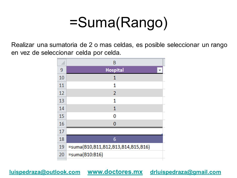 =Suma(Rango) Realizar una sumatoria de 2 o mas celdas, es posible seleccionar un rango en vez de seleccionar celda por celda. luispedraza@outlook.coml