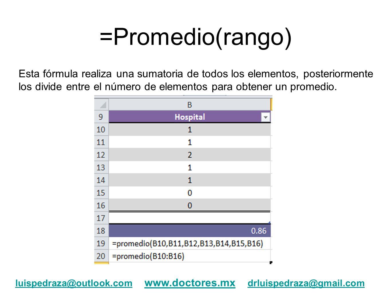 =Promedio(rango) Esta fórmula realiza una sumatoria de todos los elementos, posteriormente los divide entre el número de elementos para obtener un pro