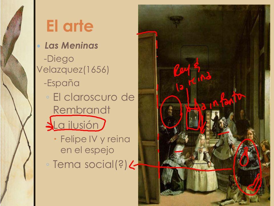 El arte Las Meninas -Diego Velazquez(1656) -España El claroscuro de Rembrandt La ilusión Felipe IV y reina en el espejo Tema social(?)