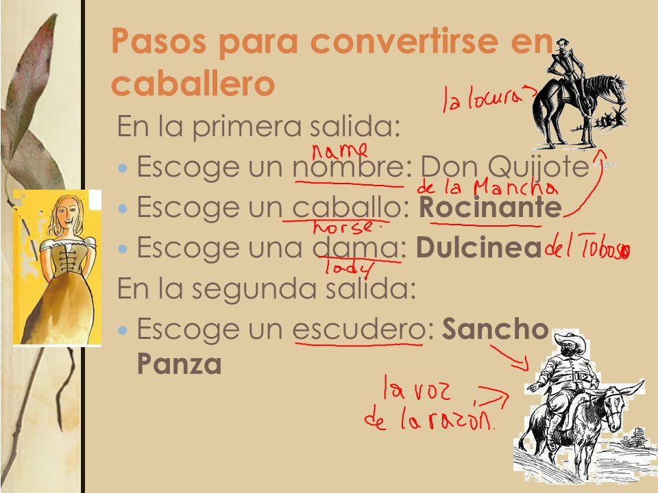 Pasos para convertirse en caballero En la primera salida: Escoge un nombre: Don Quijote Escoge un caballo: Rocinante Escoge una dama: Dulcinea En la s