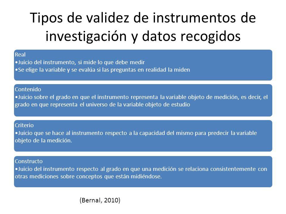 Tipos de validez de instrumentos de investigación y datos recogidos Real Juicio del instrumento, si mide lo que debe medir Se elige la variable y se e