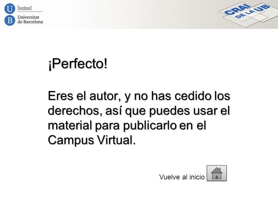 ¡Perfecto! Eres el autor, y no has cedido los derechos, así que puedes usar el material para publicarlo en el Campus Virtual. Vuelve al inicio