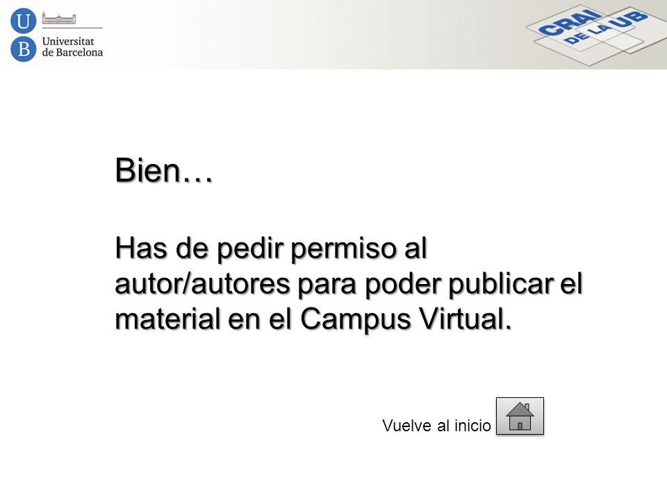 Bien… Has de pedir permiso al autor/autores para poder publicar el material en el Campus Virtual. Vuelve al inicio
