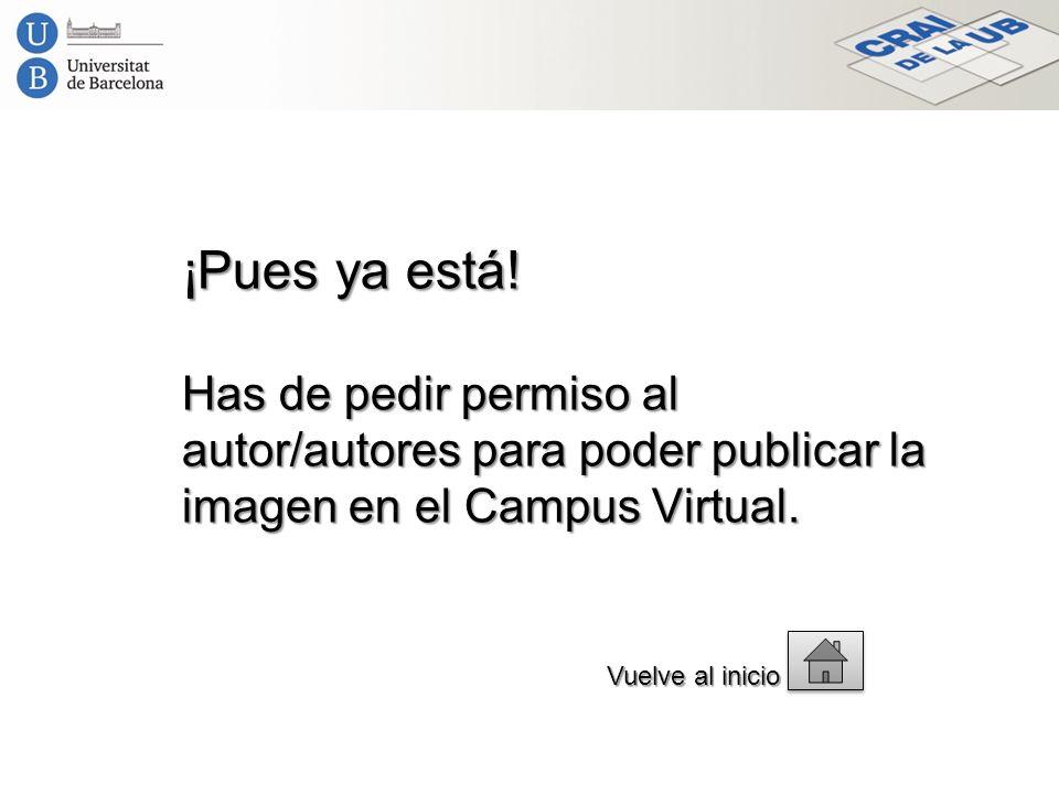¡Pues ya está! Has de pedir permiso al autor/autores para poder publicar la imagen en el Campus Virtual. Vuelve al inicio