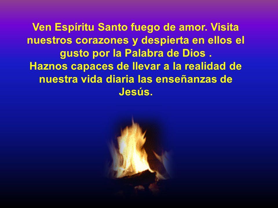 Ven Espíritu Santo fuego de amor. Visita nuestros corazones y despierta en ellos el gusto por la Palabra de Dios. Haznos capaces de llevar a la realid