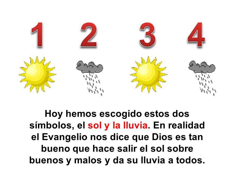 Hoy hemos escogido estos dos símbolos, el sol y la lluvia. En realidad el Evangelio nos dice que Dios es tan bueno que hace salir el sol sobre buenos