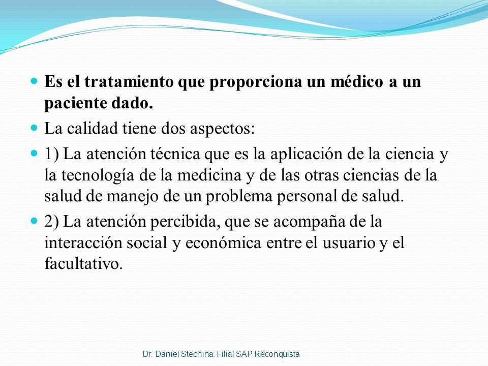 Es el tratamiento que proporciona un médico a un paciente dado. La calidad tiene dos aspectos: 1) La atención técnica que es la aplicación de la cienc