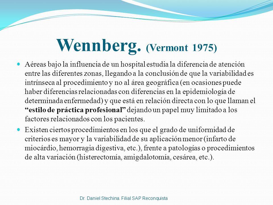 Wennberg. (Vermont 1975) Aéreas bajo la influencia de un hospital estudia la diferencia de atención entre las diferentes zonas, llegando a la conclusi