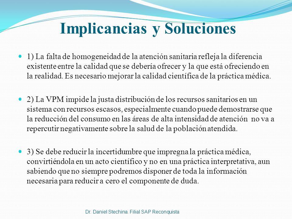 Implicancias y Soluciones 1) La falta de homogeneidad de la atención sanitaria refleja la diferencia existente entre la calidad que se debería ofrecer