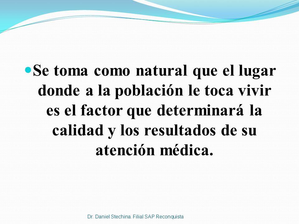 Se toma como natural que el lugar donde a la población le toca vivir es el factor que determinará la calidad y los resultados de su atención médica. D