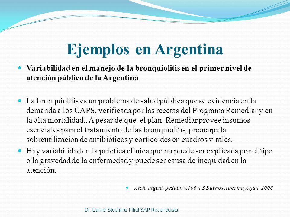 Ejemplos en Argentina Variabilidad en el manejo de la bronquiolitis en el primer nivel de atención público de la Argentina La bronquiolitis es un prob