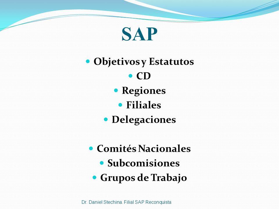 SAP Objetivos y Estatutos CD Regiones Filiales Delegaciones Comités Nacionales Subcomisiones Grupos de Trabajo Dr. Daniel Stechina. Filial SAP Reconqu