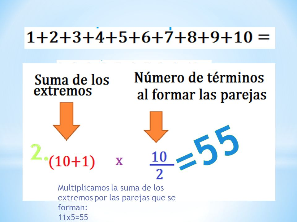 Multiplicamos la suma de los extremos por las parejas que se forman: 11x5=55