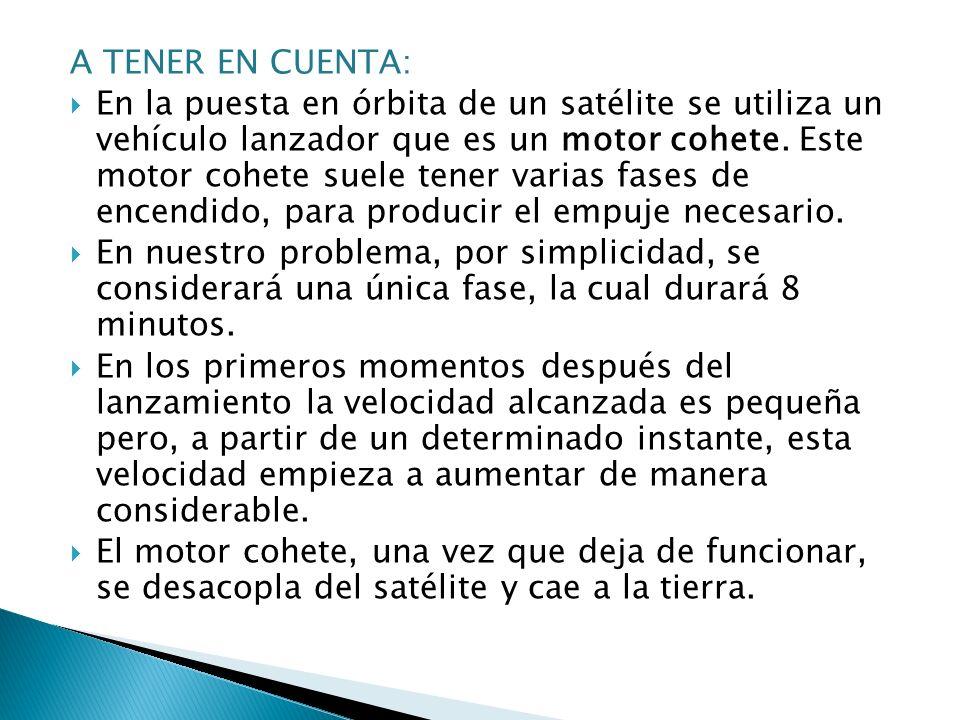 A TENER EN CUENTA: En la puesta en órbita de un satélite se utiliza un vehículo lanzador que es un motor cohete. Este motor cohete suele tener varias