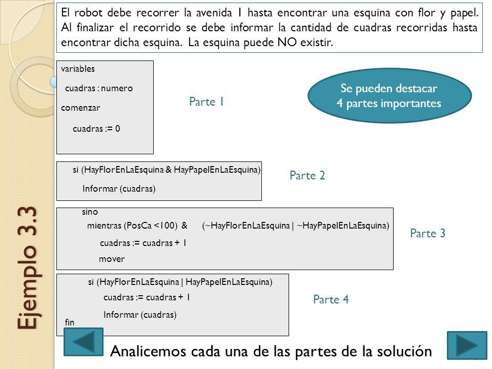 5Ingreso 2013 - Expresión de Problemas y Algoritmos Ejemplo 3.3 El robot debe recorrer la avenida 1 hasta encontrar una esquina con flor y papel. Al f