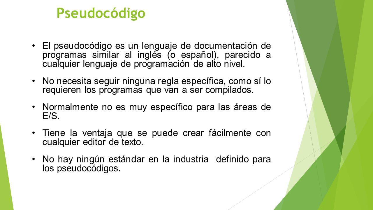 Pseudocódigo El pseudocódigo es un lenguaje de documentación de programas similar al inglés (o español), parecido a cualquier lenguaje de programación