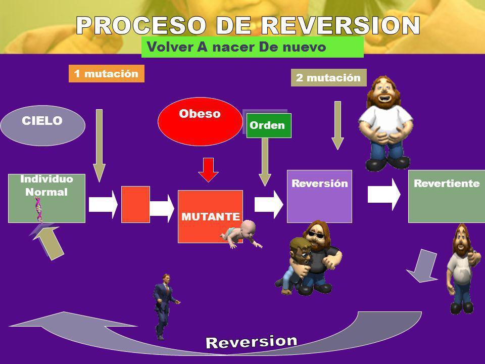 Individuo Normal 1 mutación MUTANTE 2 mutación ReversiónRevertiente Volver A nacer De nuevo Orden Obeso CIELO