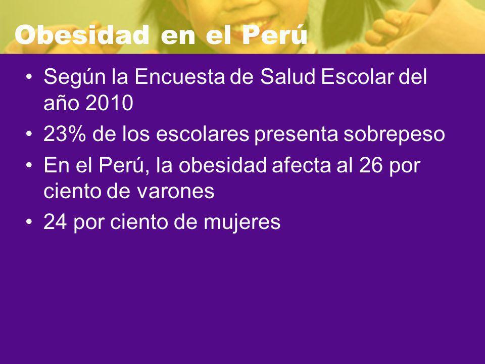 Obesidad en el Perú Según la Encuesta de Salud Escolar del año 2010 23% de los escolares presenta sobrepeso En el Perú, la obesidad afecta al 26 por c