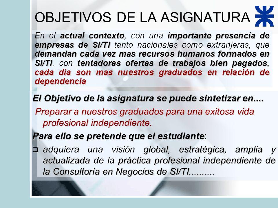OBJETIVOS DE LA ASIGNATURA El Objetivo de la asignatura se puede sintetizar en....