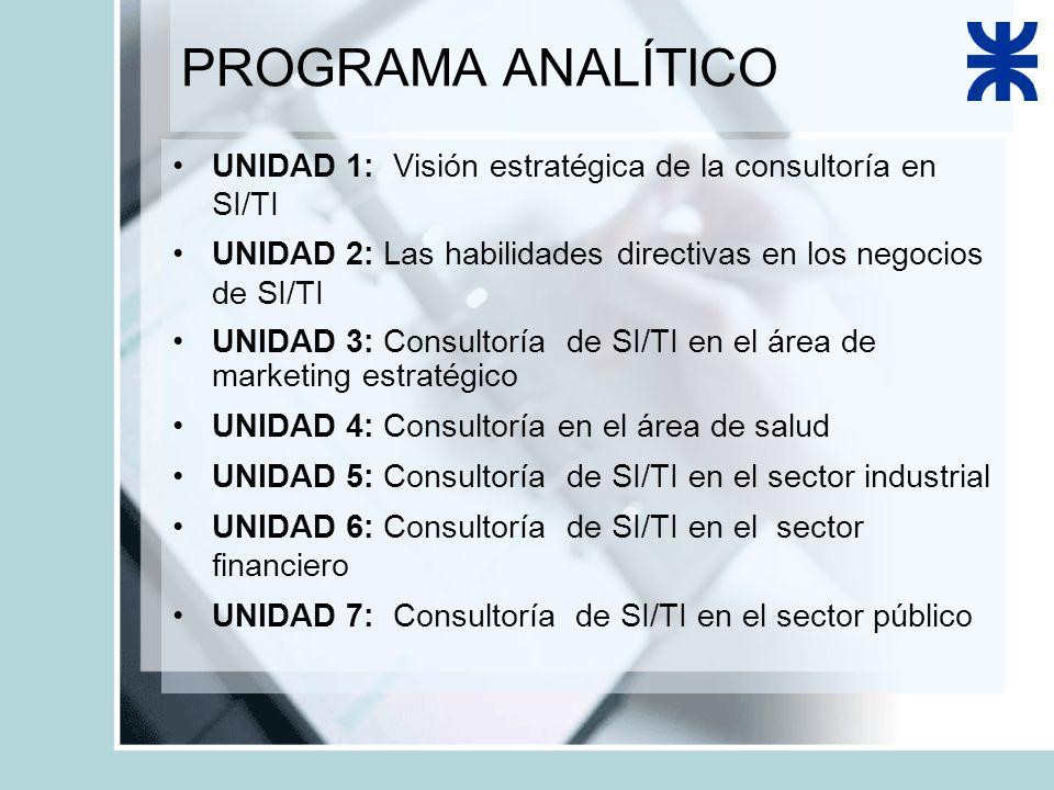 PROGRAMA ANALÍTICO UNIDAD 1: Visión estratégica de la consultoría en SI/TI UNIDAD 2: Las habilidades directivas en los negocios de SI/TI UNIDAD 3: Consultoría de SI/TI en el área de marketing estratégico UNIDAD 4: Consultoría en el área de salud UNIDAD 5: Consultoría de SI/TI en el sector industrial UNIDAD 6: Consultoría de SI/TI en el sector financiero UNIDAD 7: Consultoría de SI/TI en el sector público