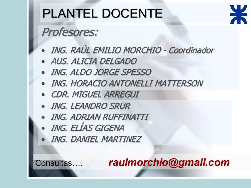 PLANTEL DOCENTE Profesores: ING. RAÚL EMILIO MORCHIO - CoordinadorING.