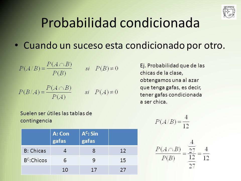 Probabilidad condicionada Cuando un suceso esta condicionado por otro. Suelen ser útiles las tablas de contingencia Ej. Probabilidad que de las chicas