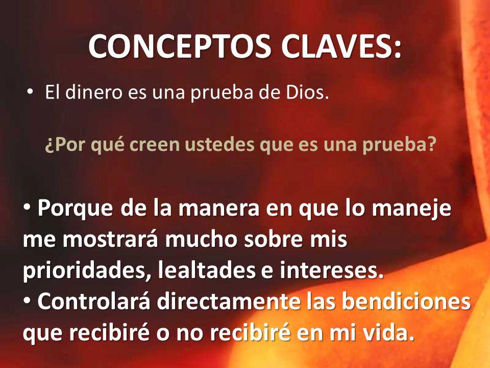 CONCEPTOS CLAVES: El dinero es una prueba de Dios.