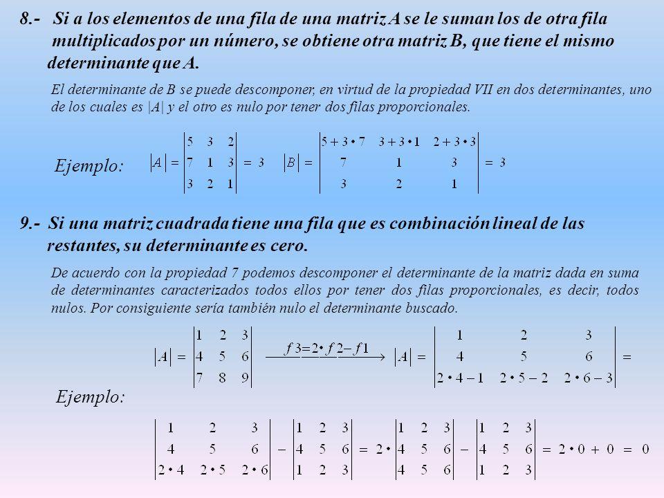 8.- Si a los elementos de una fila de una matriz A se le suman los de otra fila multiplicados por un número, se obtiene otra matriz B, que tiene el mismo determinante que A.