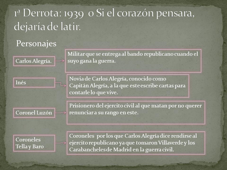 Personajes Carlos Alegría. Inés Novia de Carlos Alegría, conocido como Capitán Alegría, a la que este escribe cartas para contarle lo que vive. Corone