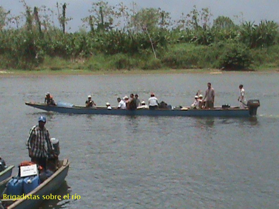 Brigadistas sobre el río