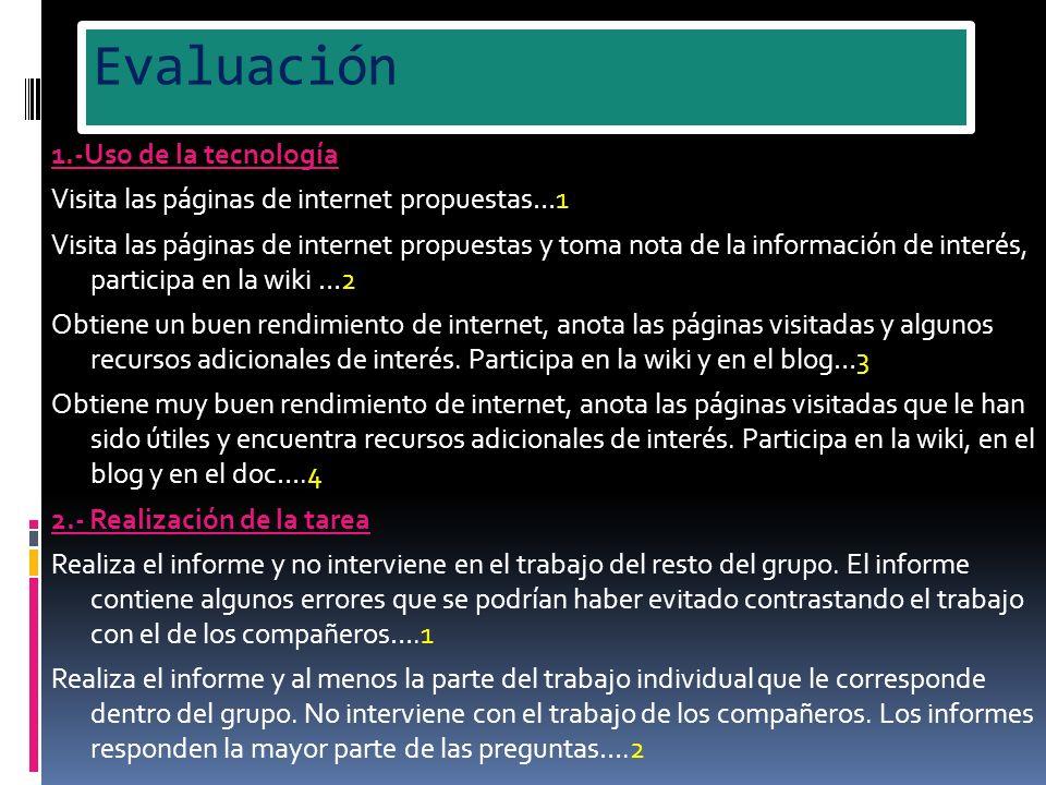 Evaluación 1.-Uso de la tecnología Visita las páginas de internet propuestas…1 Visita las páginas de internet propuestas y toma nota de la información