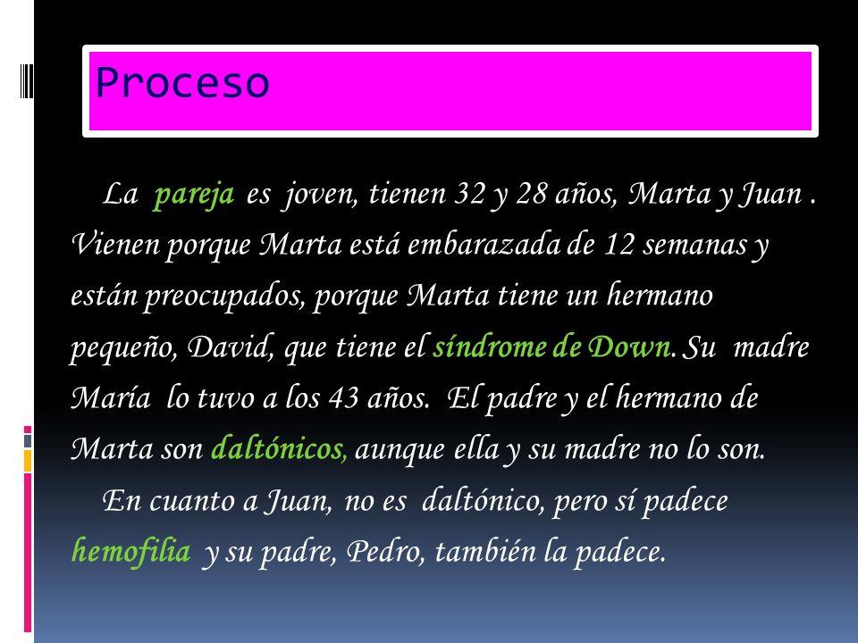 Proceso La pareja es joven, tienen 32 y 28 años, Marta y Juan. Vienen porque Marta está embarazada de 12 semanas y están preocupados, porque Marta tie