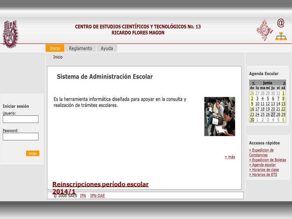 Reinscripciones período escolar 2014/1