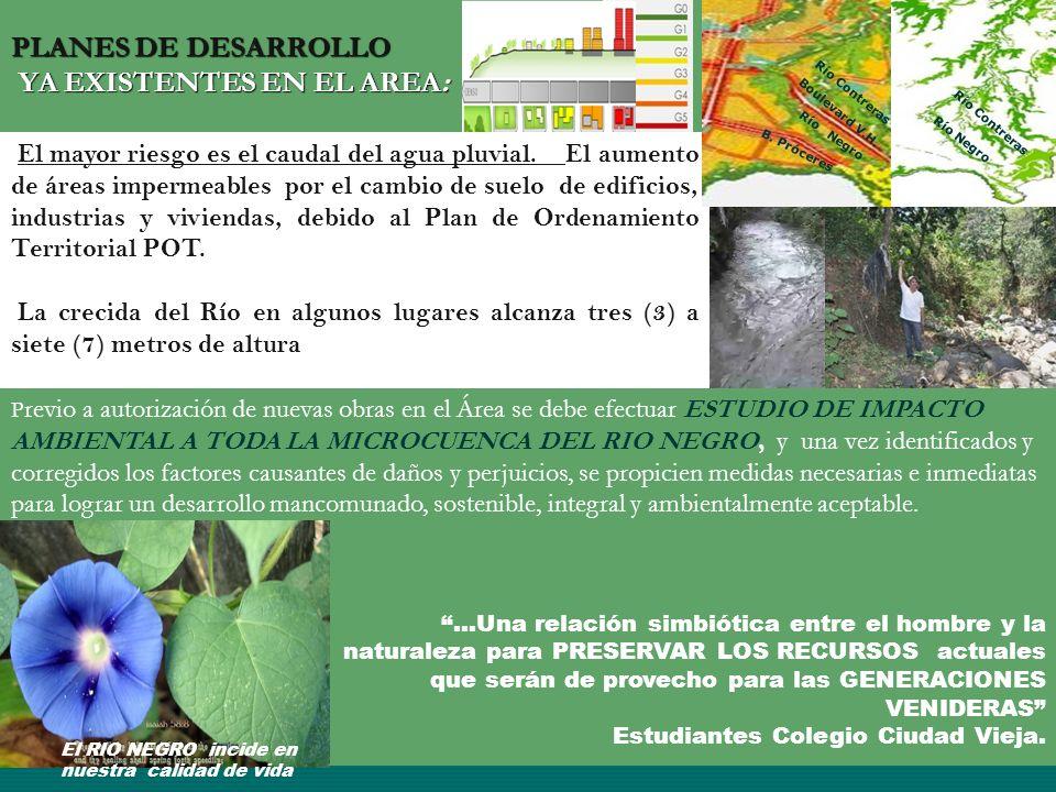 PLANES DE DESARROLLO YA EXISTENTES EN EL AREA: El mayor riesgo es el caudal del agua pluvial. El aumento de áreas impermeables por el cambio de suelo