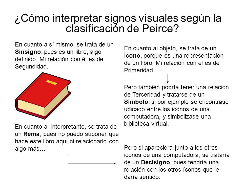¿Cómo interpretar signos visuales según la clasificación de Peirce? En cuanto a sí mismo, se trata de un Sinsigno, pues es un libro, algo definido. Mi