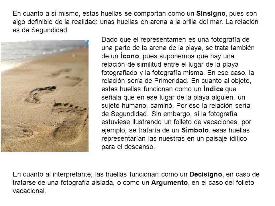 En cuanto a sí mismo, estas huellas se comportan como un Sinsigno, pues son algo definible de la realidad: unas huellas en arena a la orilla del mar.