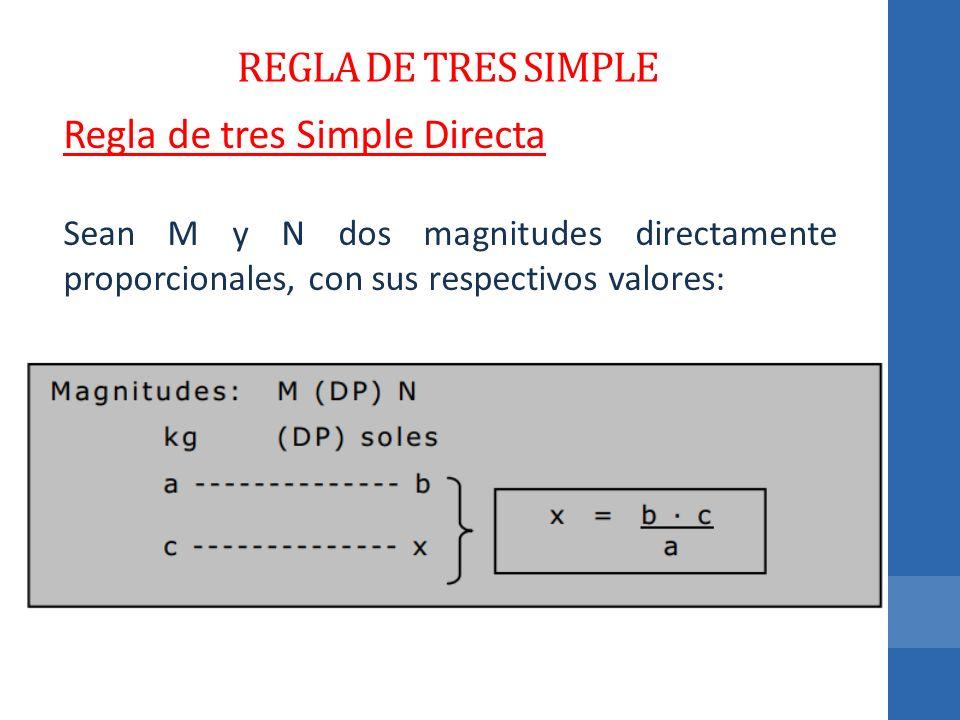 REGLA DE TRES SIMPLE Regla de tres Simple Directa Sean M y N dos magnitudes directamente proporcionales, con sus respectivos valores: