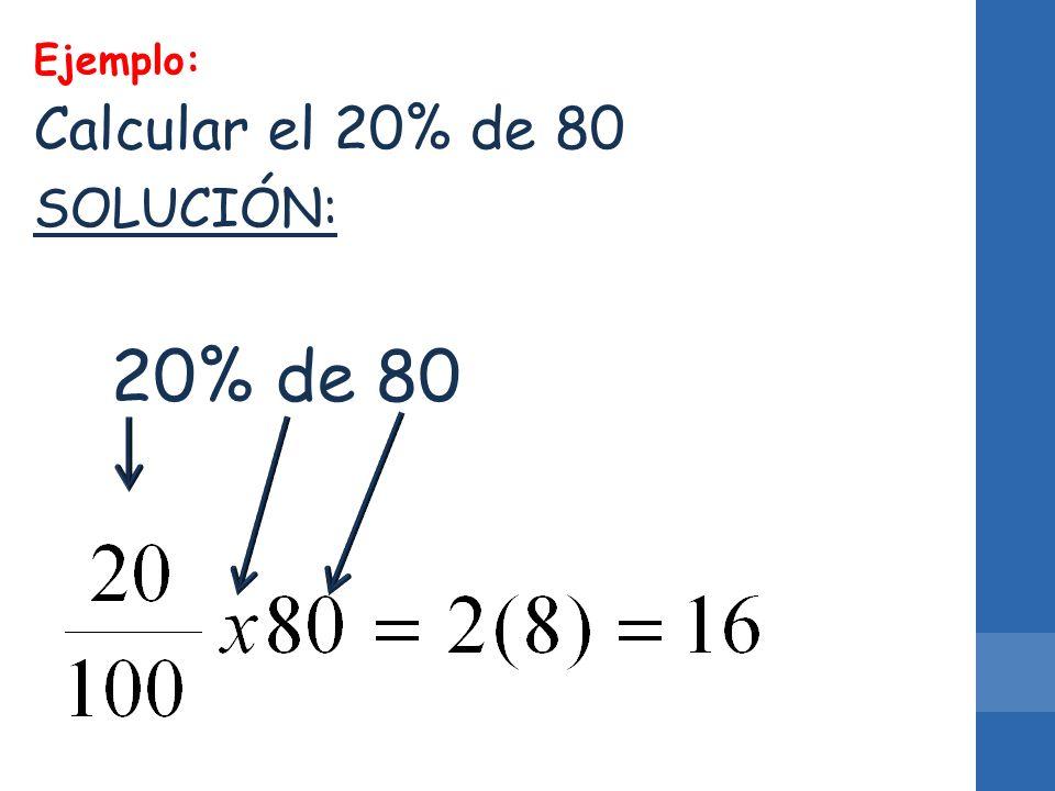 SOLUCIÓN: 20% de 80 Ejemplo: Calcular el 20% de 80