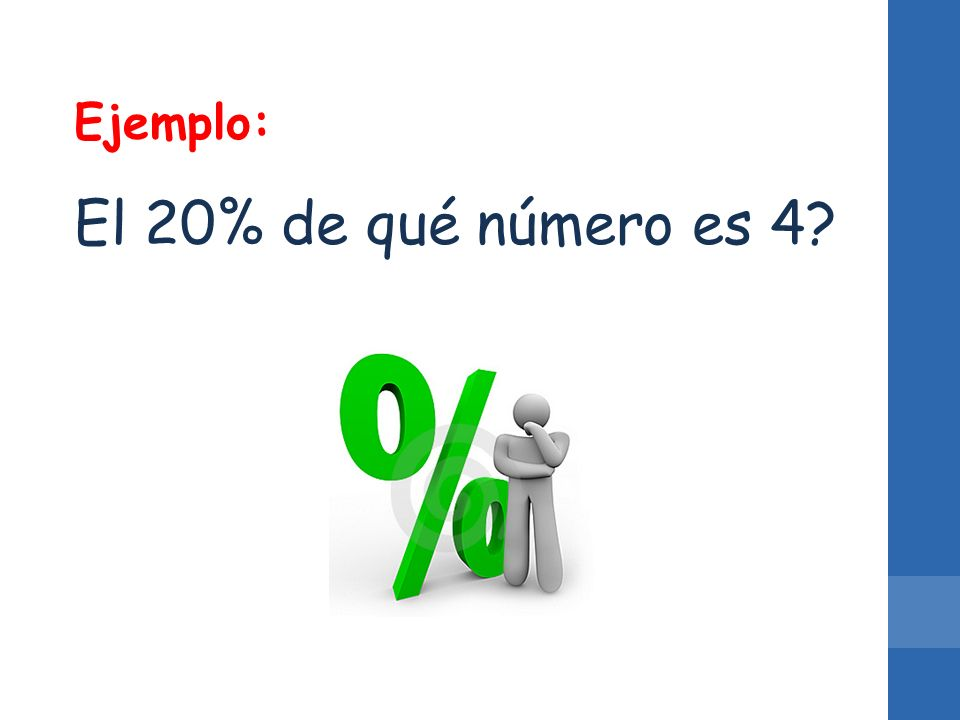 Ejemplo: El 20% de qué número es 4?