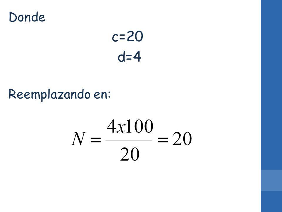 Donde c=20 d=4 Reemplazando en: