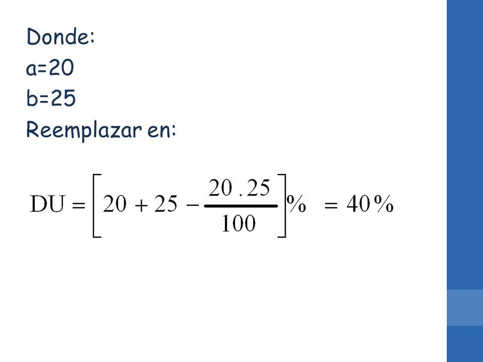 Donde: a=20 b=25 Reemplazar en: