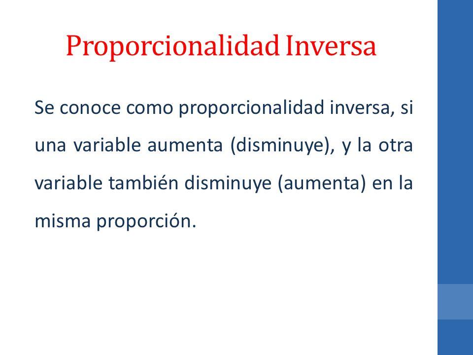 Proporcionalidad Inversa Se conoce como proporcionalidad inversa, si una variable aumenta (disminuye), y la otra variable también disminuye (aumenta)