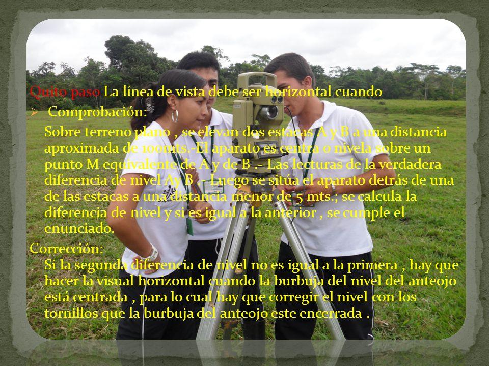 Quito paso La línea de vista debe ser horizontal cuando Comprobación: Sobre terreno plano, se elevan dos estacas A y B a una distancia aproximada de 1
