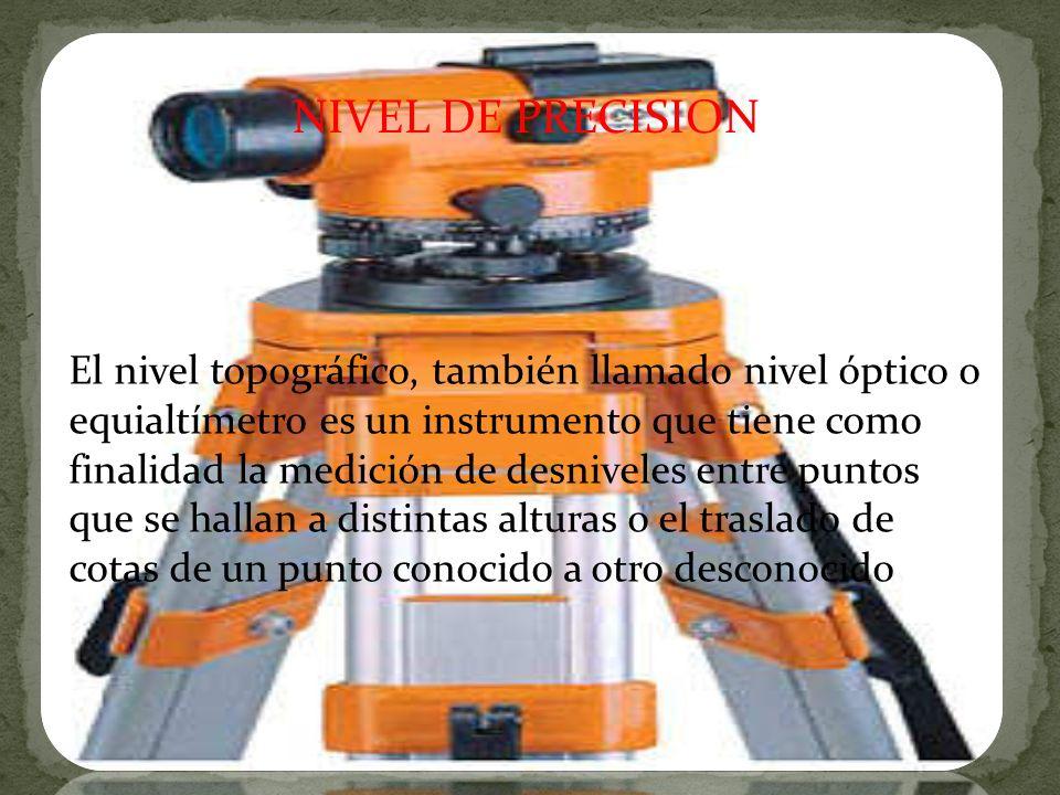El nivel topográfico, también llamado nivel óptico o equialtímetro es un instrumento que tiene como finalidad la medición de desniveles entre puntos q