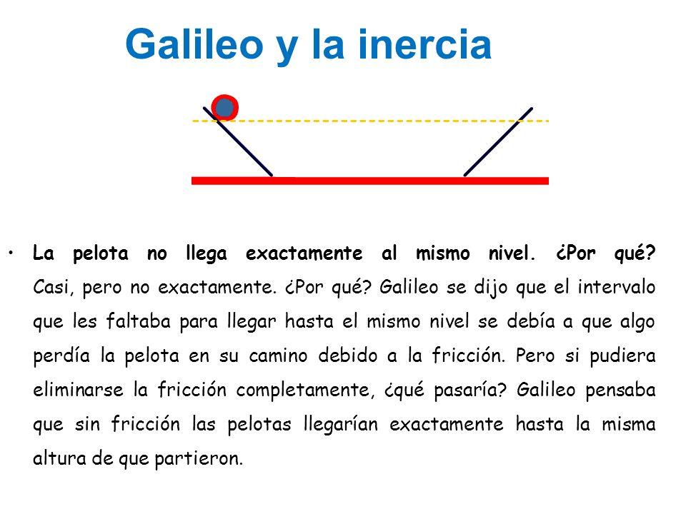 Galileo y la inercia La pelota no llega exactamente al mismo nivel. ¿Por qué? Casi, pero no exactamente. ¿Por qué? Galileo se dijo que el intervalo qu