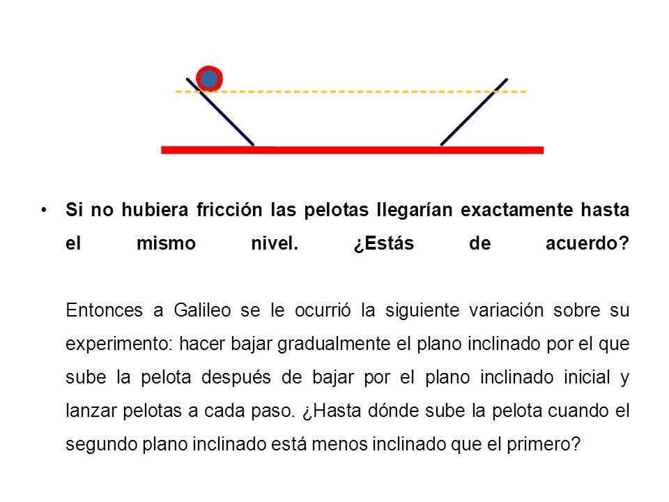 Si no hubiera fricción las pelotas llegarían exactamente hasta el mismo nivel. ¿Estás de acuerdo? Entonces a Galileo se le ocurrió la siguiente variac